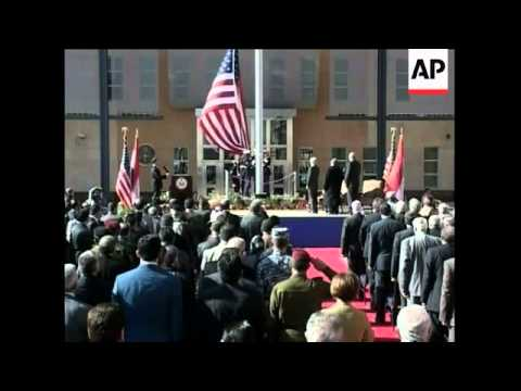 The United States opened its new embassy in Iraq under tight security Monday.  It is the most visibl