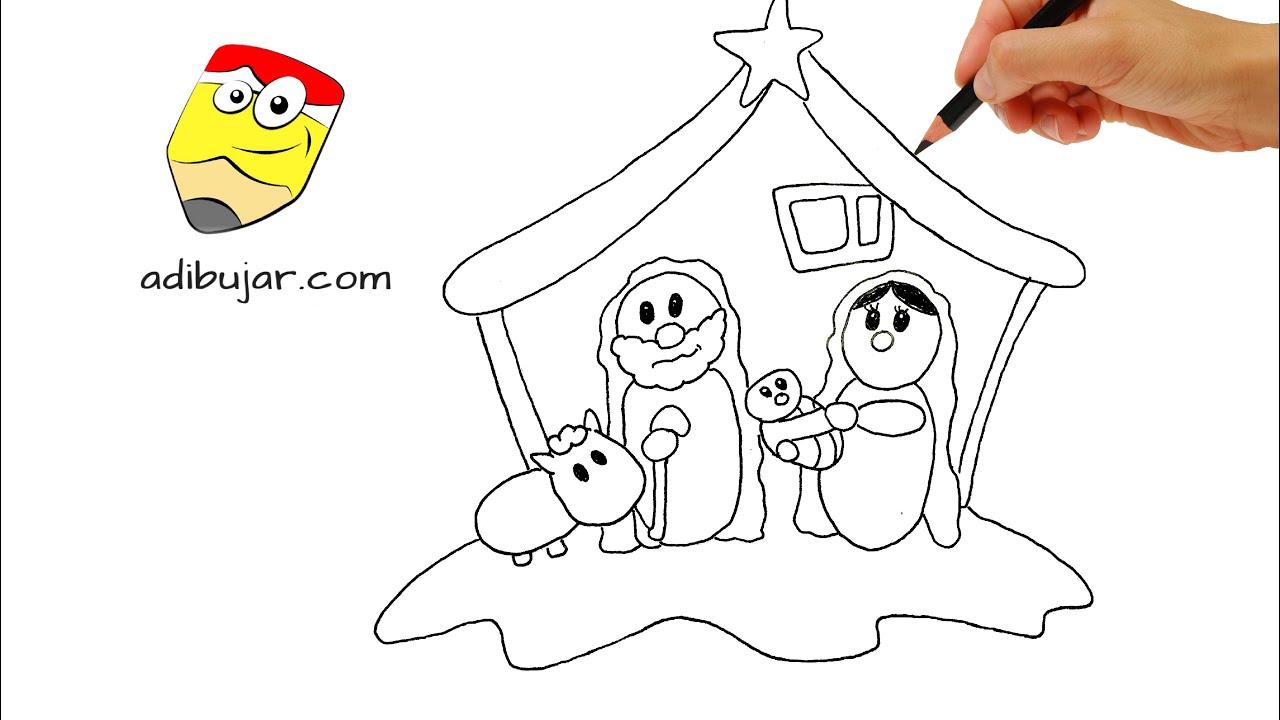 Dibujos De Navidad Del Nacimiento De Jesus.Como Dibujar Un Nacimiento Pesebre Belen A Lapiz Facil Paso A Paso Decoracion Navidad
