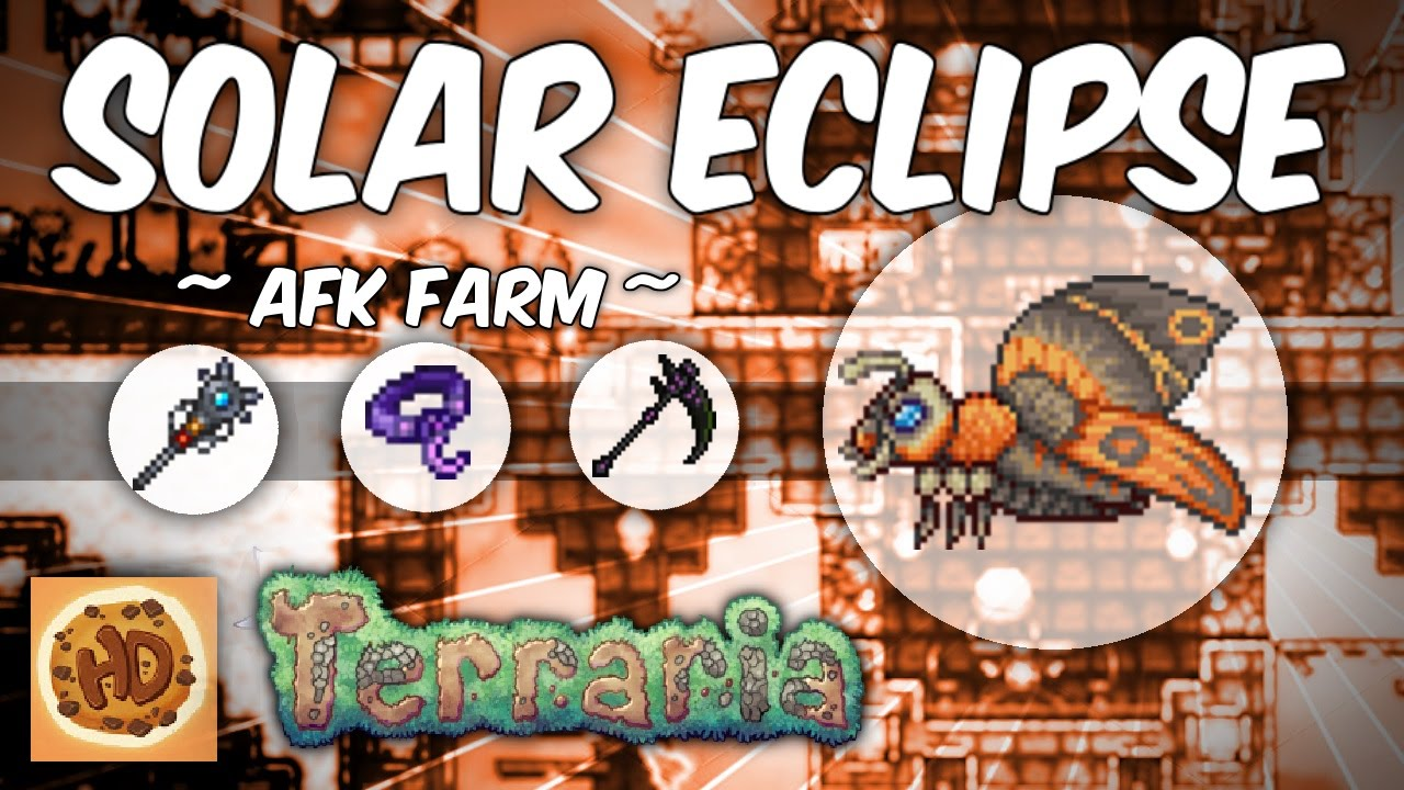 Terraria Afk Solar Eclipse Farm Get The Death Sickle Moon Stone More 1 2 4 1 Youtube Hi guys this is my first terraria video what i did in the video is showing u guys the solar eclipse and fast killing bosses bosses:destroyer and twins. terraria afk solar eclipse farm get the death sickle moon stone more 1 2 4 1