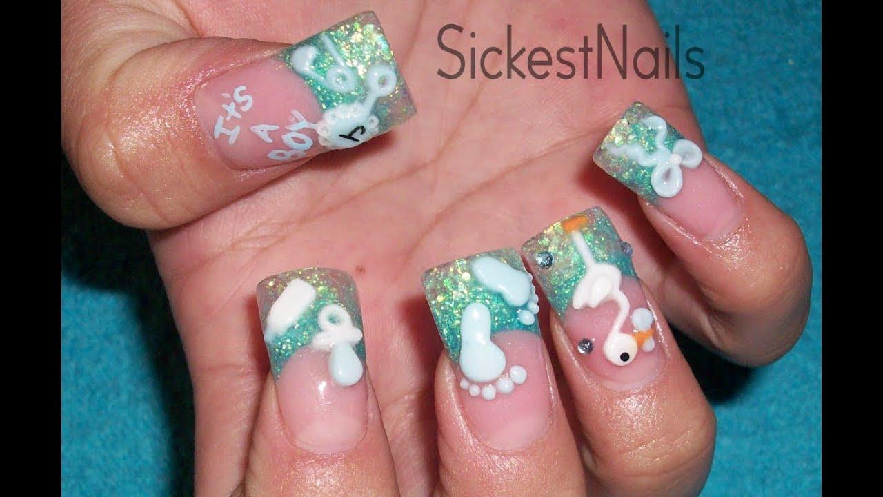 Acrylic Nail Design It S A Boy Baby Shower Diseño De Uña Acrilico Es Un Ñino