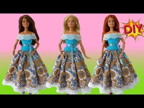 Видео как сшить платье для куклы барби