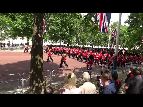 Massed bands of the Guards marching on the mall