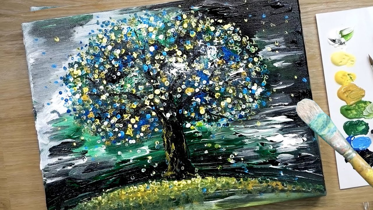 Easy Abstract Painting Technique For Beginners Tree In Darkness Youtube