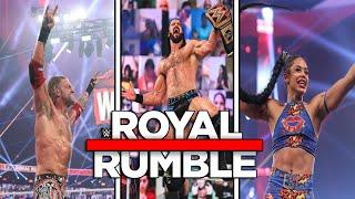EDGE gana el ROYAL RUMBLE masculino Drew McIntyre destruye a Goldberg Bianca Belair hace historia