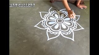 Beautiful Big designs by Art Gallery/Easy step By step Rangoli designs