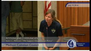 officer emily samson testifying at madison city council 7 19 16