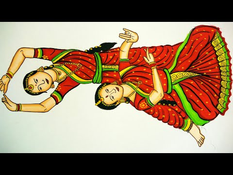 How To Draw And Paint Girl Dancing Bharatnatyam Girls Doing Classical Dance Youtube