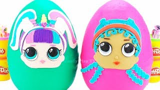 Giant Play Doh Surprise Eggs LOL | Learn Colors with Play Doh and Lol Surprise Toys for Kids