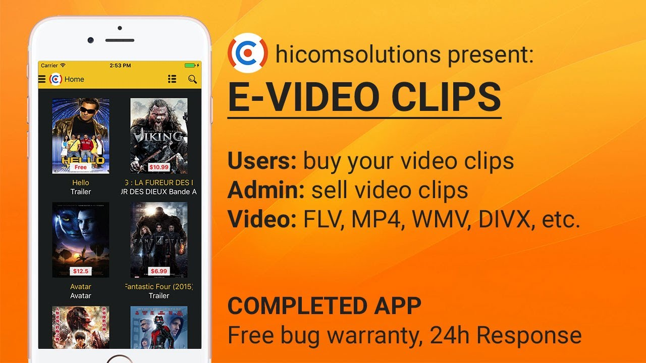 E Video Clip Sell Your Video Clip Mobile App Template Source Code