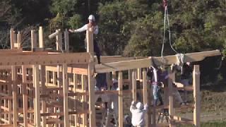 大工建前2日目 8時間 LIVE(11/29)木造伝統構法で家を建てる方法・建て方2日目の工程~小林建工