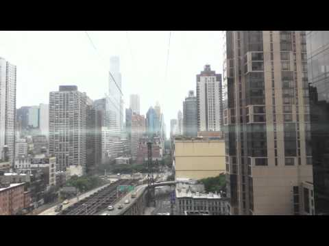 Riding above the East River in the Aerial Tramway in NY