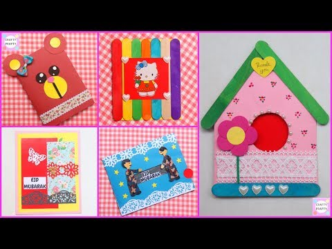 5 FANTASTIC HANDMADE GREETING CARDS ||How to make Eid card / DIY Eid card/make beautiful Eid card