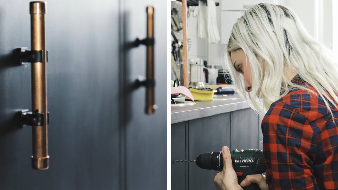 griffe aus kupferrohr 3 makeover k che diy youtube. Black Bedroom Furniture Sets. Home Design Ideas