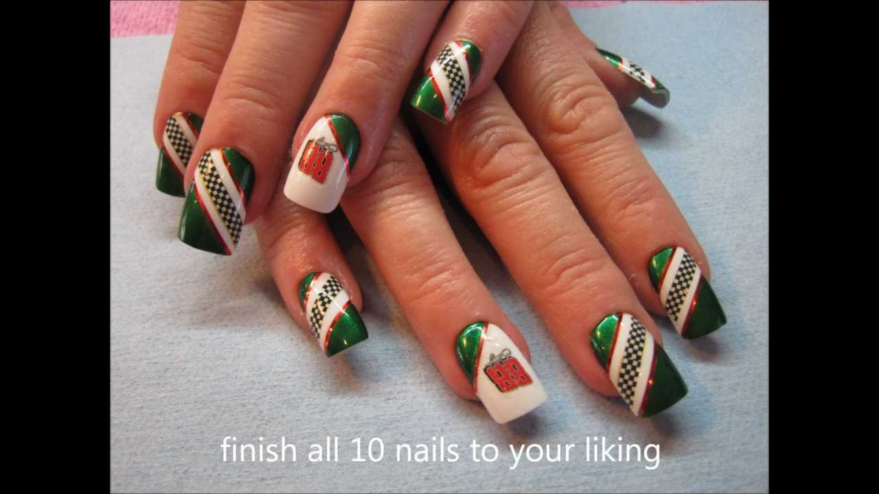Race Day Nails Tutorial - Race Day Nails Tutorial - YouTube