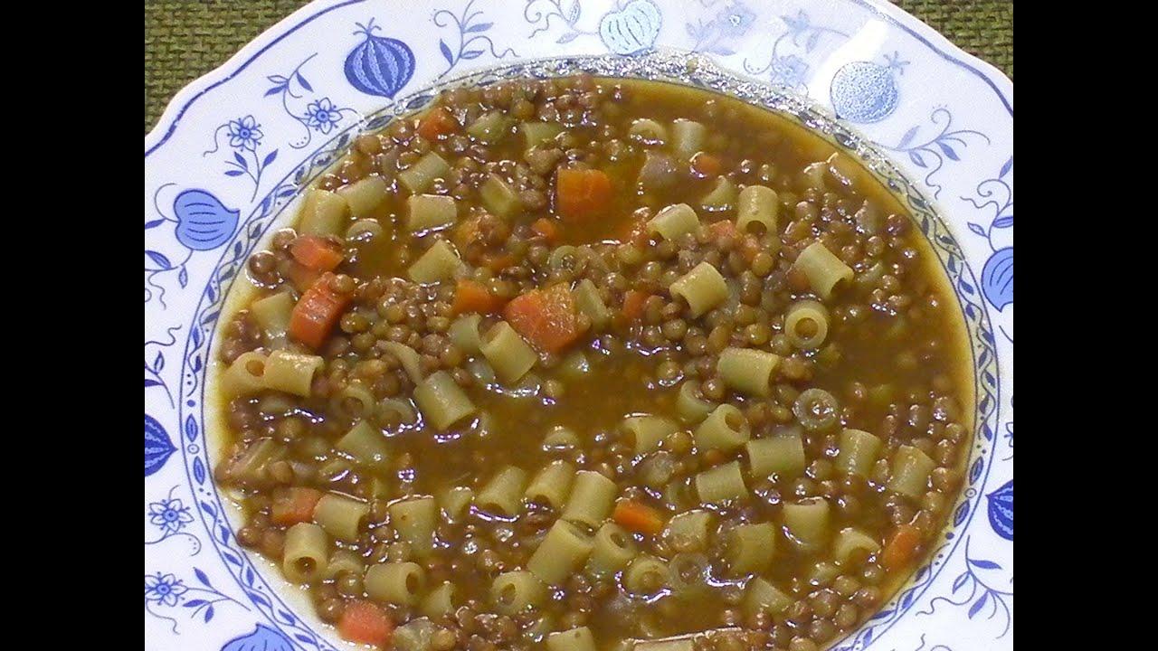 minestra o zuppa di lenticchie ricetta con pasta youtube