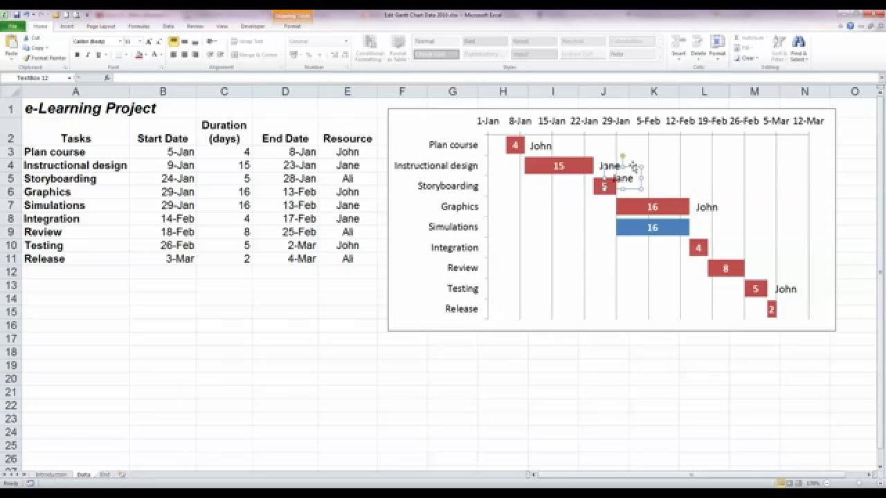 edit a basic gantt chart in excel 2010 youtube