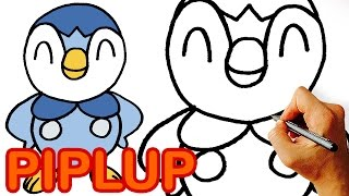 How to Draw Piplup from Pokemon for Kids. Step by Step