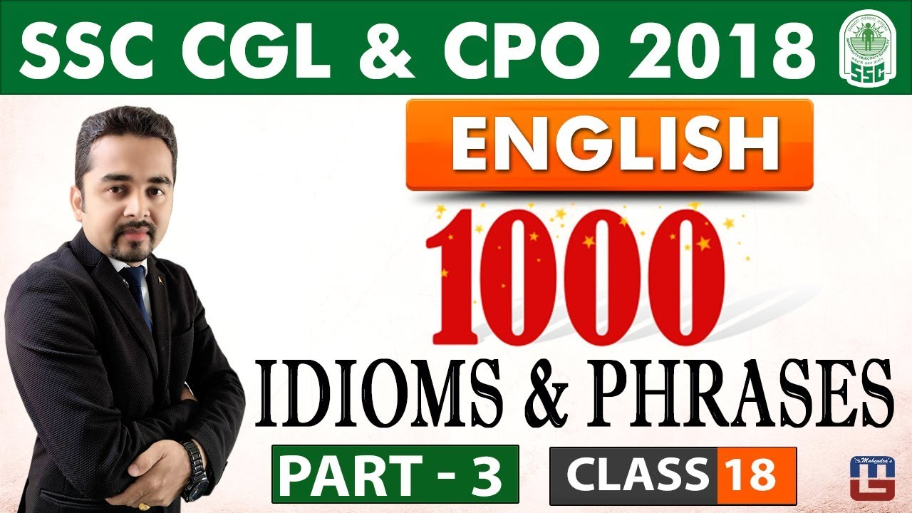 1000 Idioms & Phrases | Part 3 | Class 18 | English | SSC CGL | CPO