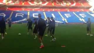 Real Madrid Training In The Cardiff City Stadium