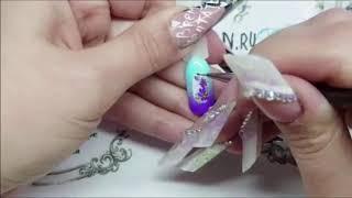 Холодные цветы  Жидкий камень на ногтях  Дизайн ногтей с цветами