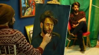 live painting  portrait by oil    الرسام مصطفى اكرم-white genius  رسم مباشر الحلقة الاولى