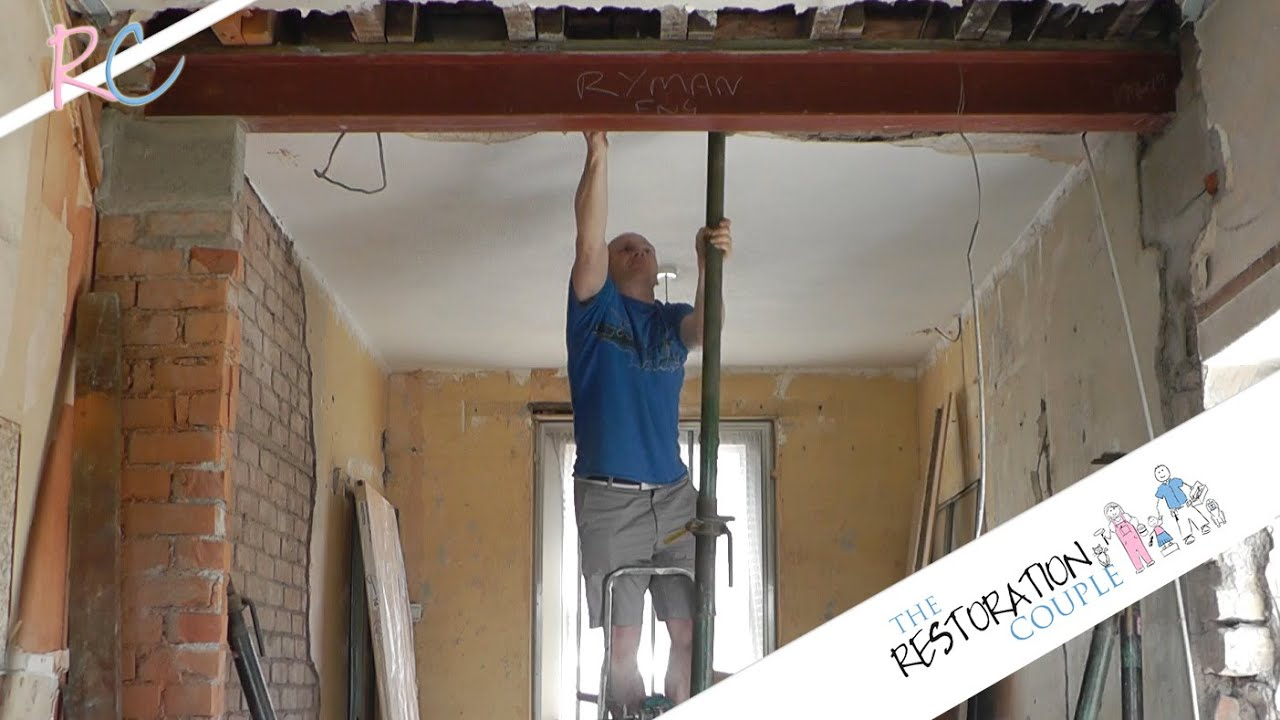 Knock Down Ceiling Kitchen Renovation 4.0 - Fitting A Steel Beam Rsj - Youtube