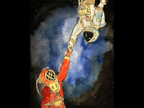Watercolor painting - earth and mars and everything far- (speed painting)
