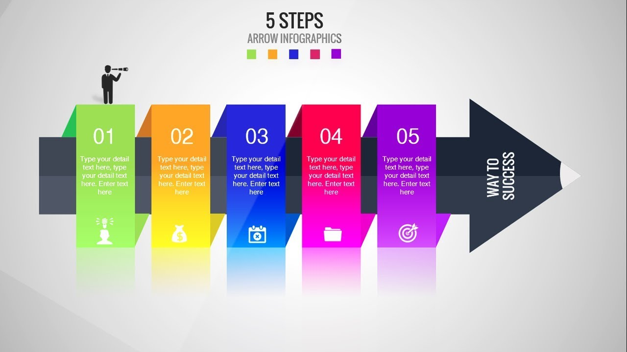 5 Steps Arrow Infographics Template For Powerpoint Timelines Stages Processes Animation