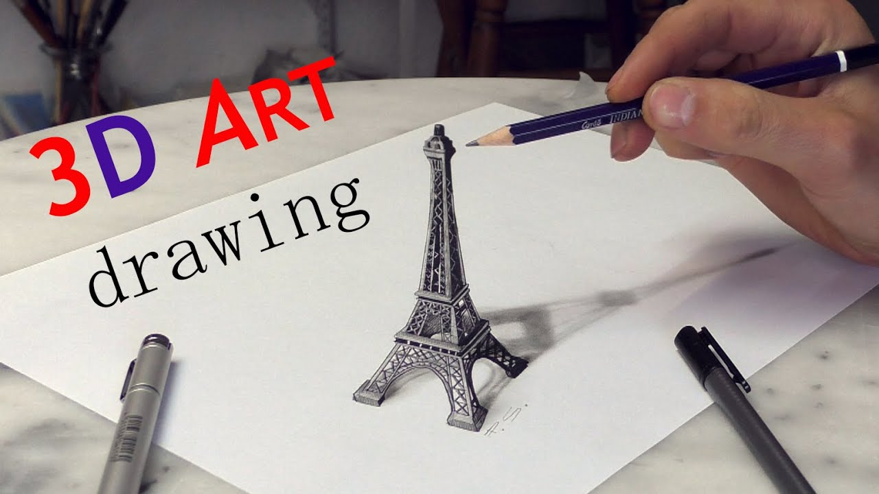 paris eiffel tower 3d drawing solidarit youtube. Black Bedroom Furniture Sets. Home Design Ideas