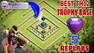 New Best TH12 (Town Hall 12) Trophy Base 2019 with 5 Replays | Th12 Best Trophy Base 2019