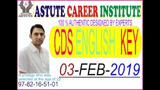 CDS 2019 English answer key 03 February 2019 part-1