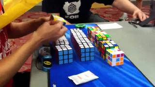 former world record 17 17 rubik s cubes blindfolded by chester lian