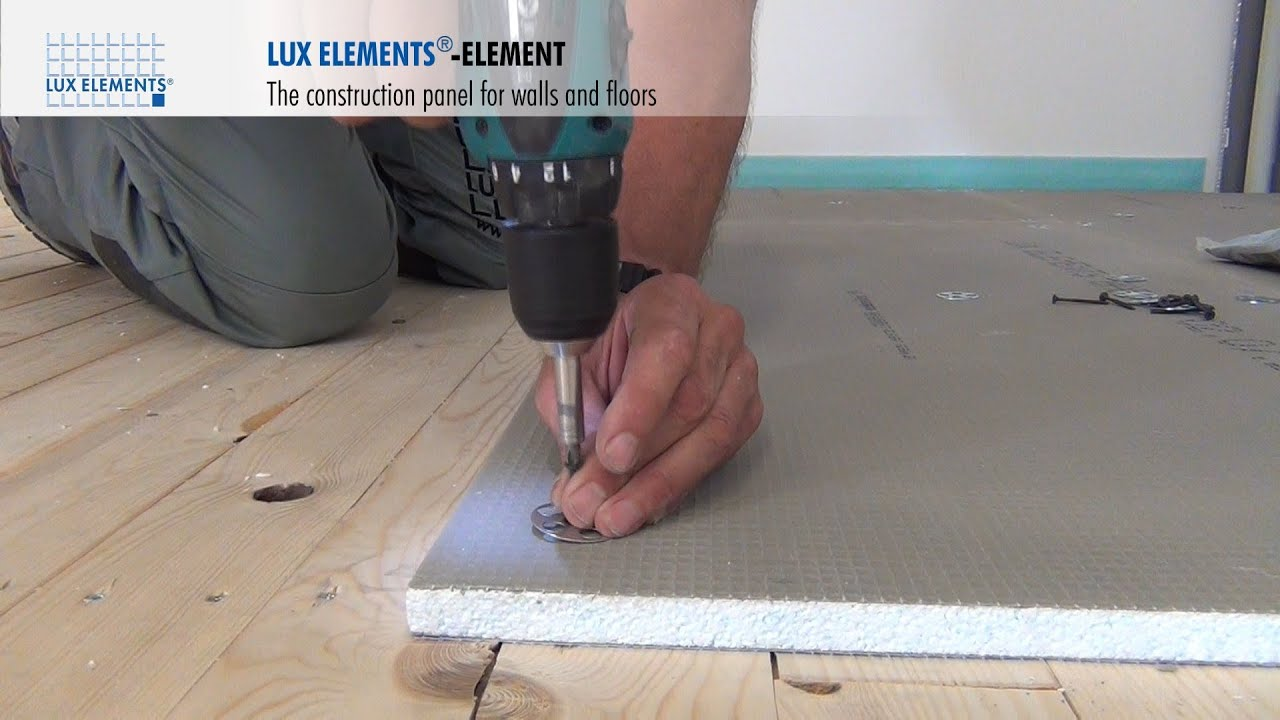 Lux elements installation construction panel element on for Pose parquet sur carrelage plancher chauffant