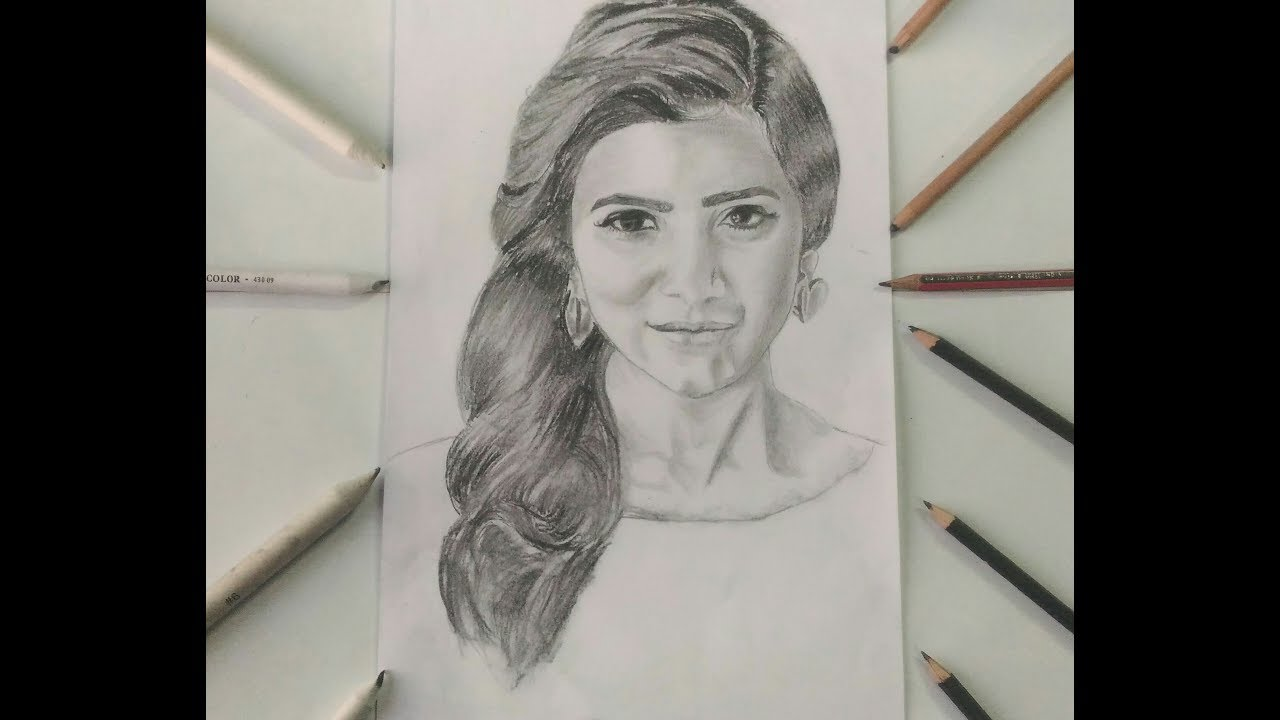Drawing Samantha Ruth Prabhu Celebrity Sketches Youtube