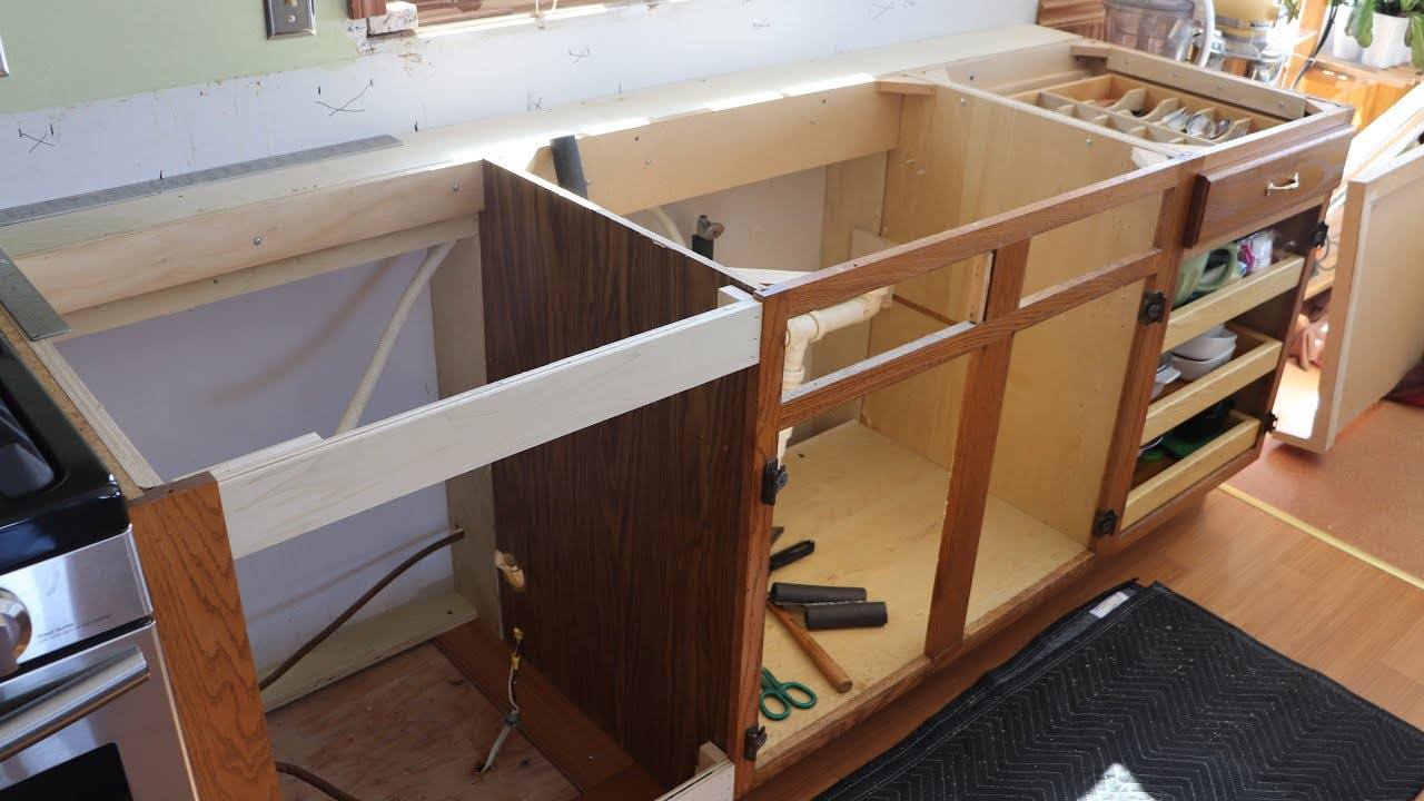 Kitchen Update Part 4 Moving Cabinets For Wider Counters Youtube