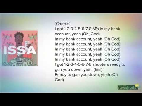 21 Savage ( BANK ACCOUNT ) (LYRICS)