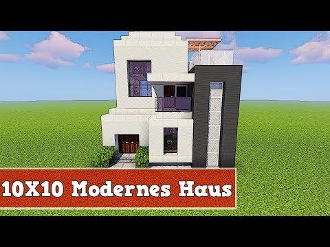 Wie baut man ein 10 X 10 Modernes Haus in Minecraft | Minecraft einfaches Modernes Haus bauen