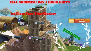 Fortnite Fall Skirmish Day 1 Highlights | $400,000 Prize | Faze Tfue/Cloakzy Take 1st Place