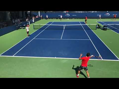 Grigor Dimitrov trains with Rafa Nadal at the US Open, 25.08.2017.