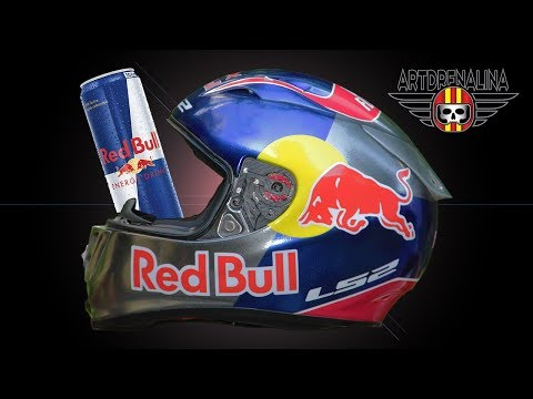 Painting Chrome Custom Red Bull Helmet (Capacete Cromo)