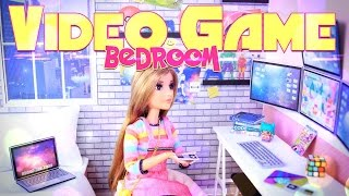 DIY - How to Make: Doll Video Game Bedroom - Dollhouse Crafts - 4K
