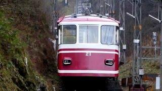 南海 高野山ケーブル コ11・21形客車 極楽橋駅到着