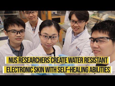 Water-resistant, self-healing electronic skin