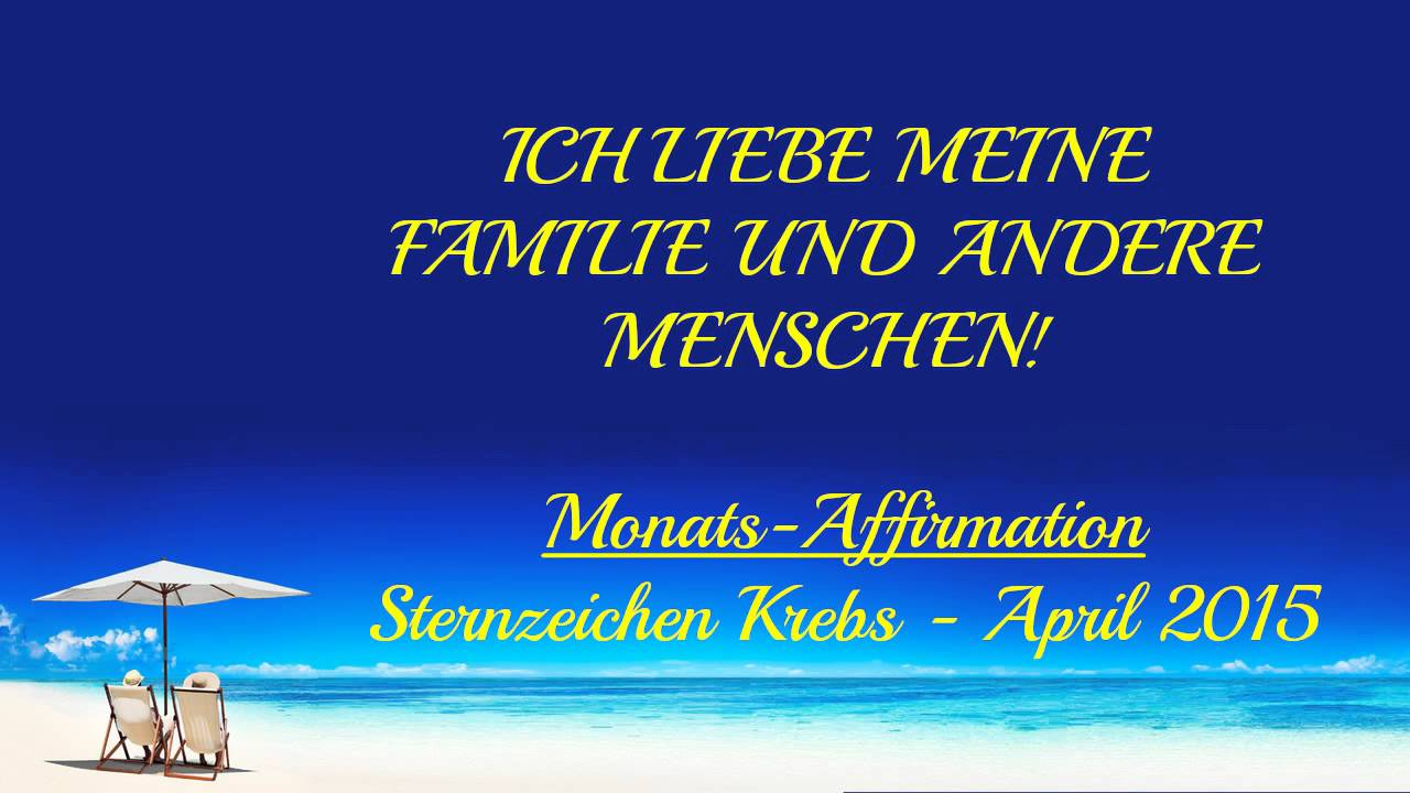neu sternzeichen krebs monats affirmation april 2015 astrologie horoskop youtube. Black Bedroom Furniture Sets. Home Design Ideas