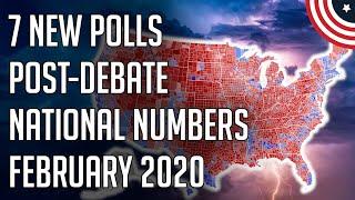 7 New Democratic Primary Polls - Bloomberg Drops, Bernie & Warren Gain Nationally - February 2020