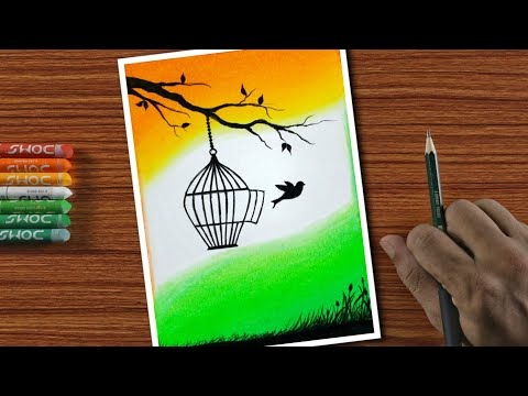 Easy Drawing For Beginners With Oil Pastels Independence Step By Step Youtube