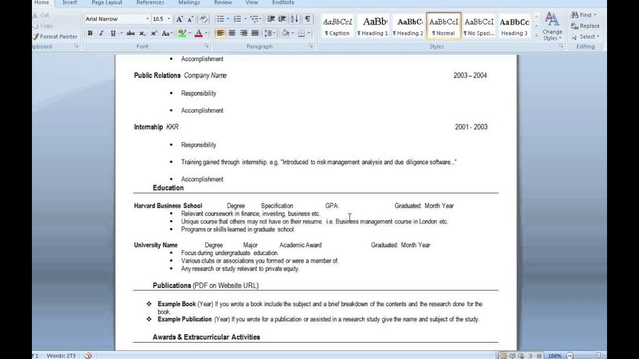 private equity resume template