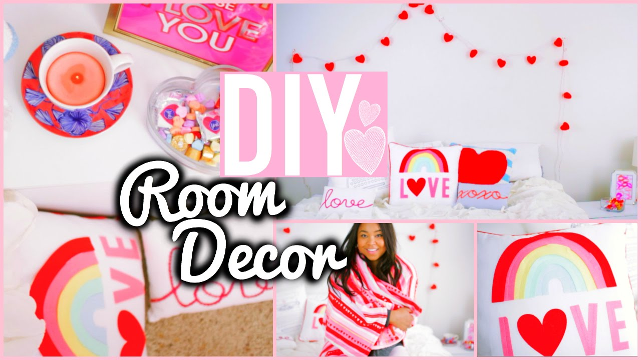 Diy room decorations valentine 39 s day cute cheap youtube for Valentine s day room decor