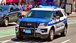 Boston police department ford explorer interceptor utility is seen here responding lights and sirens to an emergency. boston, massachusetts, usa. soci...