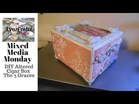 DIY Mixed Media Monday Altered Cigar Box The 3 Graces #Alteredcigarbox #mixedmedia
